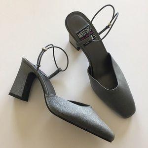 Mootsies Tootsies Metallic Silver Slingback Heels